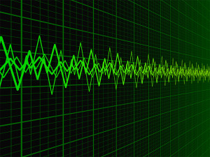 Green sound wave over fading oscilloscope graph background illustration